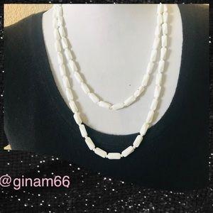 "Vintage Milk Glass Necklace 48"""